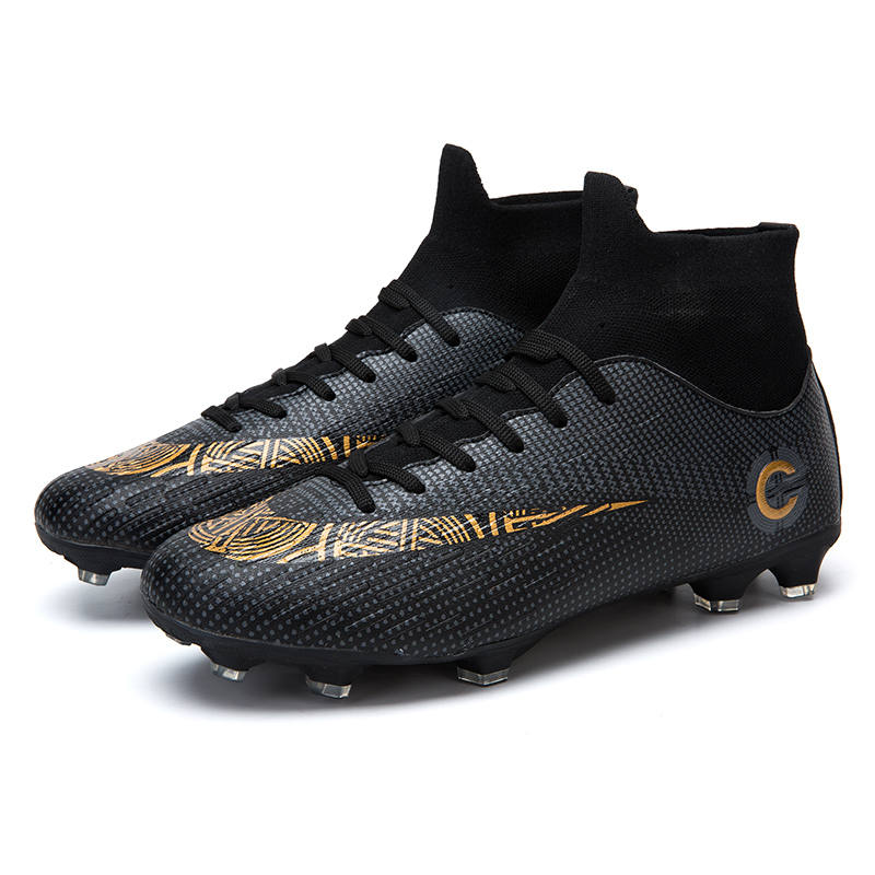 Men's High Top Training Ankle AG Sole Outdoor Cleats Football Shoes Spike High Ankle Men Crampon Football Boots Original Cleats 2