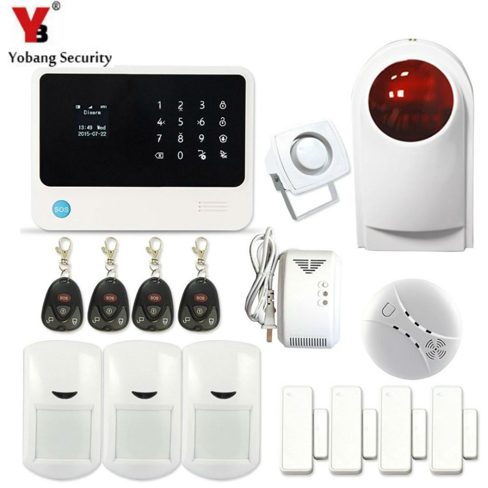 YobangSecurity G90B Security WIFI GSM GPRS Alarm System Android IOS APP Control Gas Leakage Detector Wireless Smoke Sensor wireless gsm pstn home alarm system android ios app control glass vibration sensor co detector 8218g