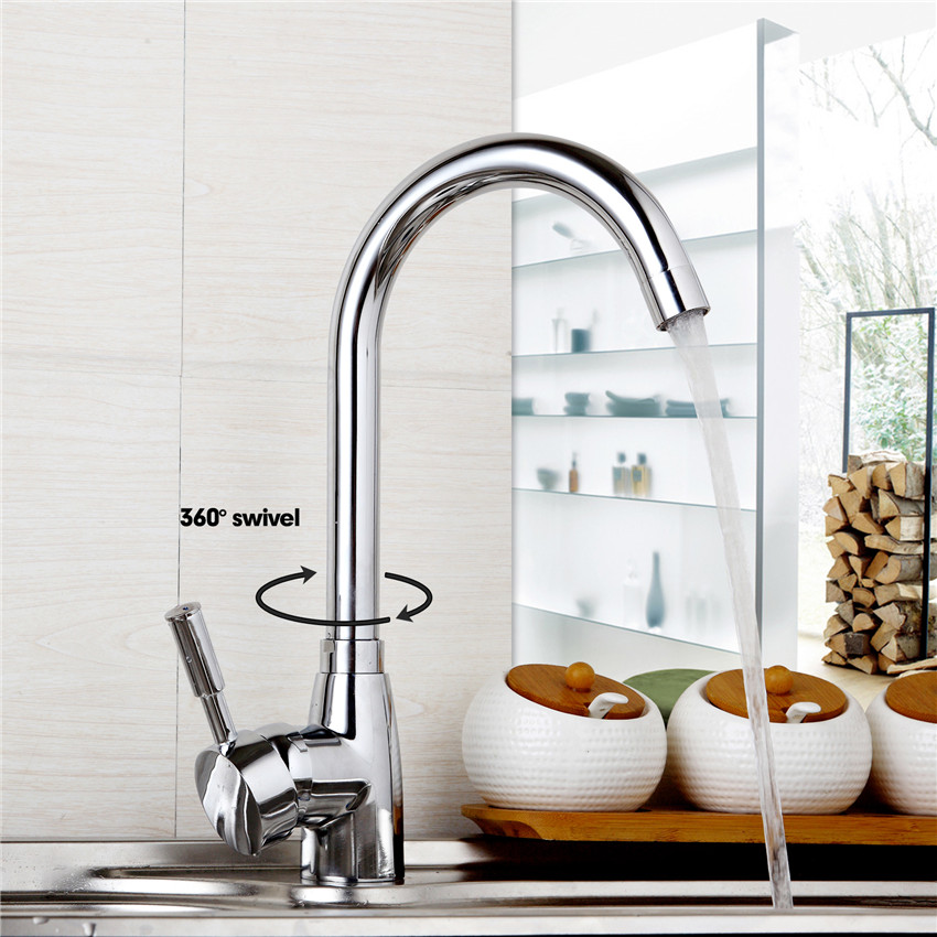 Kitchen Sink New Kitchen Faucet Deck Mounted Chrome Polished Basin Faucet Hot and Cold Water Swivel