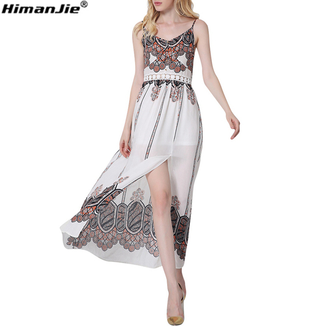 7347cea78afc7a HimanJie vrouwen abstract Retro jurken sexy v-hals mouwloze band slip lange  print harnesss maxi