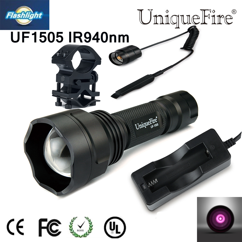 Portable Uniquefire Night Vision Zoomable UF-1505 IR 940NM Infrared LED Flashlight+Charger+Tactical Remote+Gun mount Free Ship waterproof flashlight uniquefire infrared night vision 1503 ir 940nm zoomable led flashlight charger tactical remote scope mount