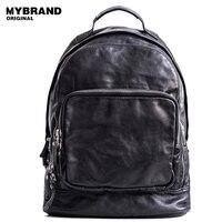 Mybrandoriginal натуральная кожа рюкзаки для женщин из коровьей кожи мужские рюкзак большой емкости растительного дубления кожаный рюкзак B129