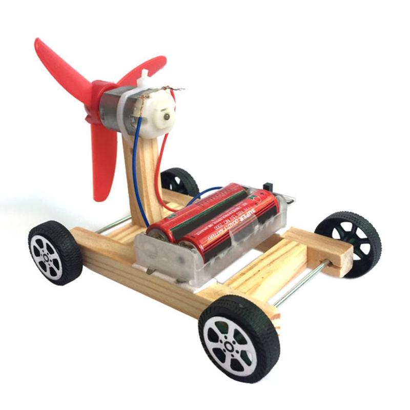 Wooden DIY Single-wing Wind Car Assembly Model Kit Kids Science Experiment Toy Children Intelligence Developing Education Toys