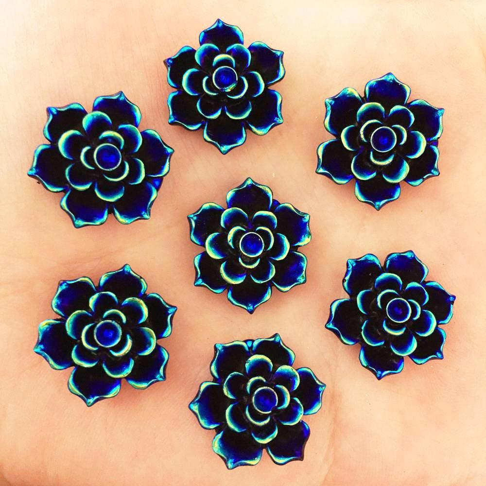 NEW 20PCS 20mm AB Resin 3D Flower Stone Flatback Wedding Diy Design Button Craft K334*2