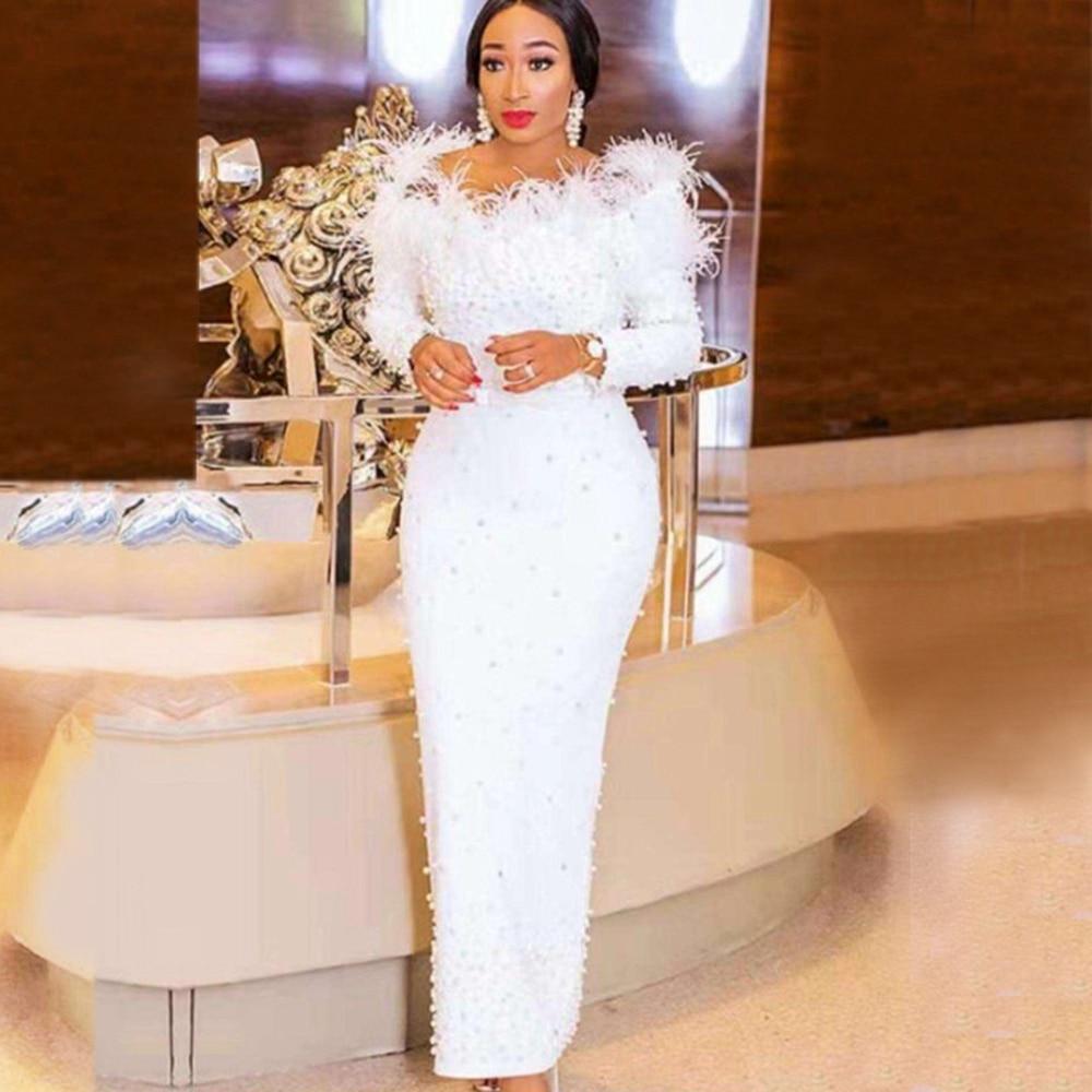 新着ホワイトビーズエレガントなイブニングセレブタッセル包帯ドレス 2019 長袖春冬 Vestidos  グループ上の レディース衣服 からの ドレス の中 1
