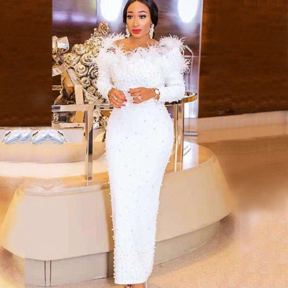New Arrival White Beads Elegant Evening Celebrity Tassel Bandage Dress 2019 Long Sleeve Spring Winter Off The Shoulder Vestidos