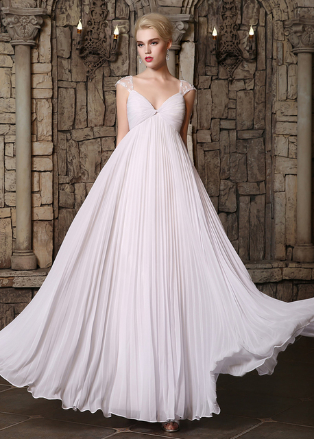 5aad755e1e Real Lace Chiffon Maternity Wedding Dresses Empire Waist Pleated Cap Sleeves  Floor Length Beach Informal Bridal Gowns Pregnant