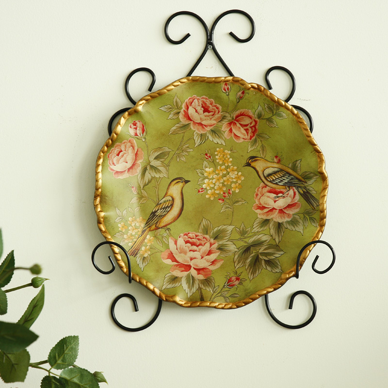 European pastoral countryside painted decorative plate ornaments ...