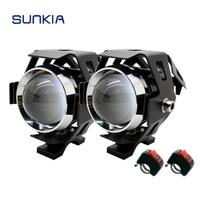 2Pcs Set U5 LED Car Motorcycle Headlight 3 Modes DRL Fog Light Spot Light Lamp Waterproof