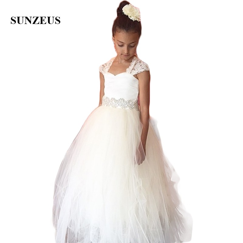 Lace Cap Sleeve First Communion   Dresses   A-Line Tulle Pleats Beaded Waist   Girls   Wedding and Party   Dresses     Flower     Girls     Dress   SF14