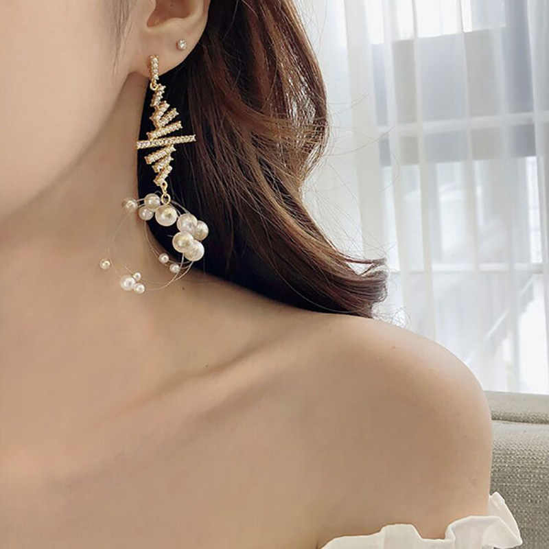 2019 Simulated Pearl Korean Knot Drop Earrings For Women Rhinestone Long Tassel Statement Pendientes For Woman Girl Jewelry