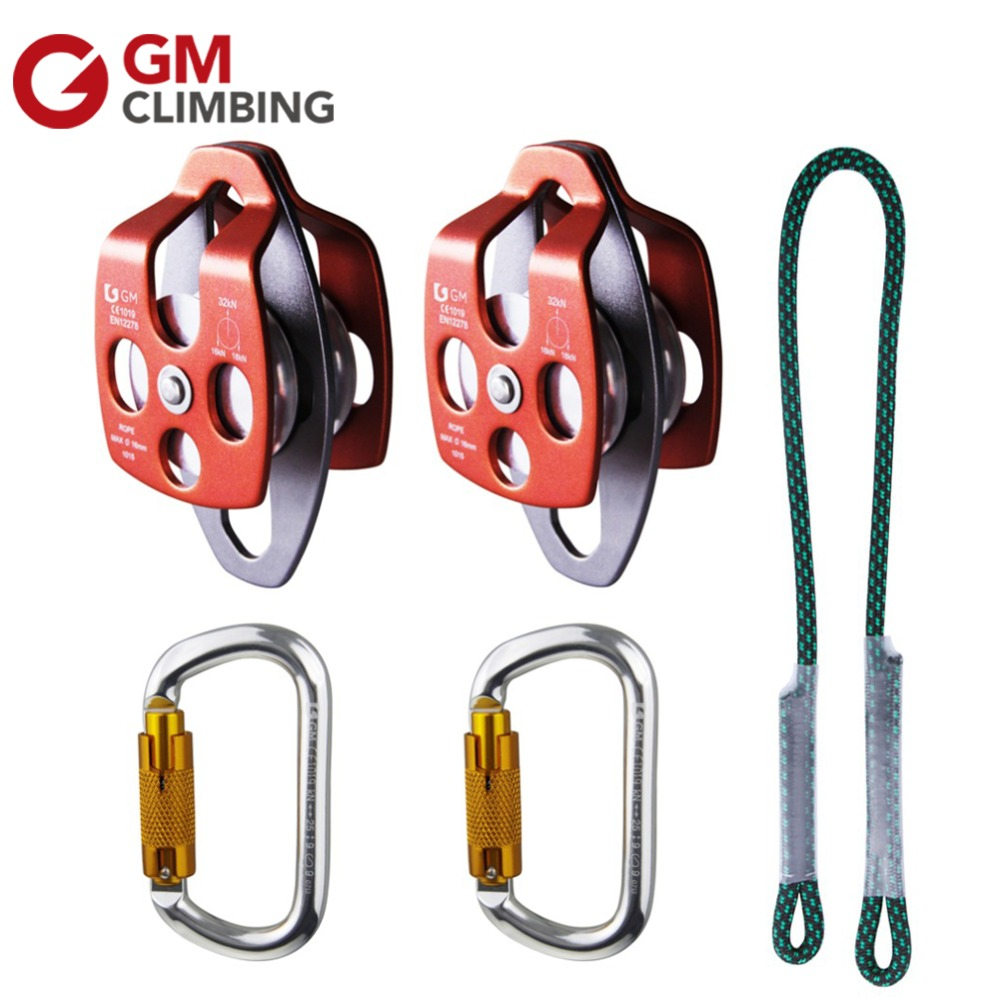 GM Montanismo Equipamento Prusik Pulley Systems Eye to Eye Prusik Cord 32KN Climbing Pulleys With 25KN Auto Locking Carabiner