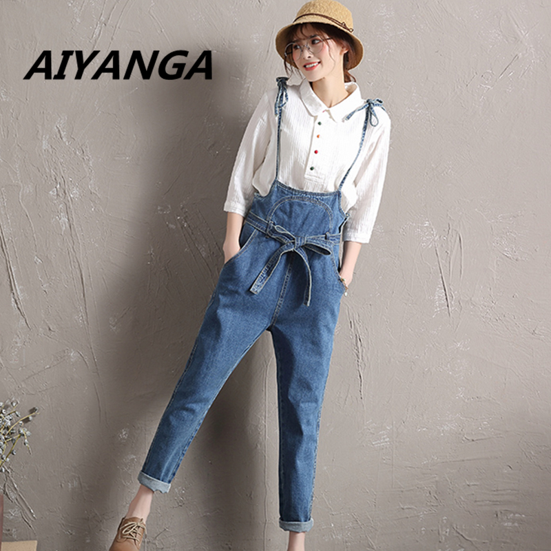 New Women's clothing Overalls jeans high waist strap denim trousers lace up bow button pocket casual loose jumpsuit big size 2014 new fashion reminisced men vintage trousers casual jeans wash capris pants loose plus size overalls zipper denim jumpsuit