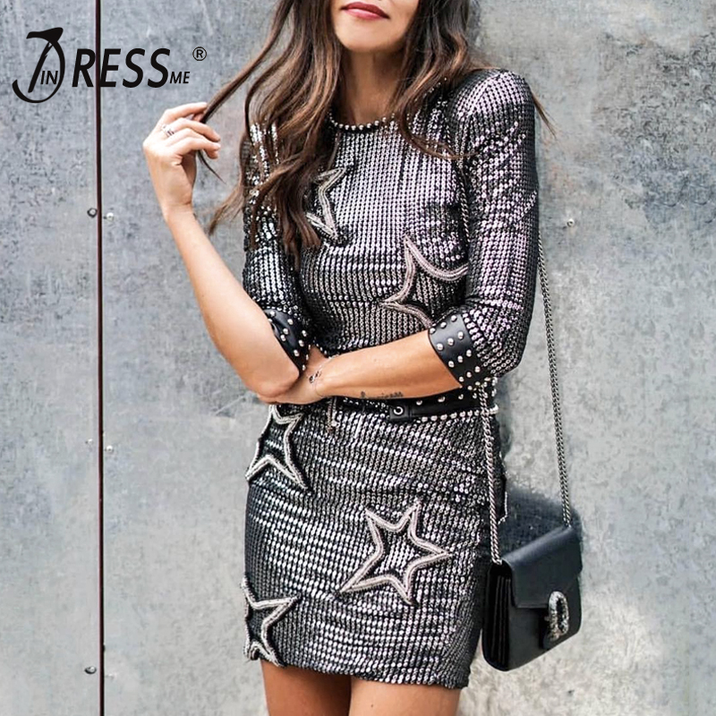 INDRSESME Women Winter Dress Sequined Star O Neck Sexy Party Bodycon Dresses Three Quarter Sleeve Club