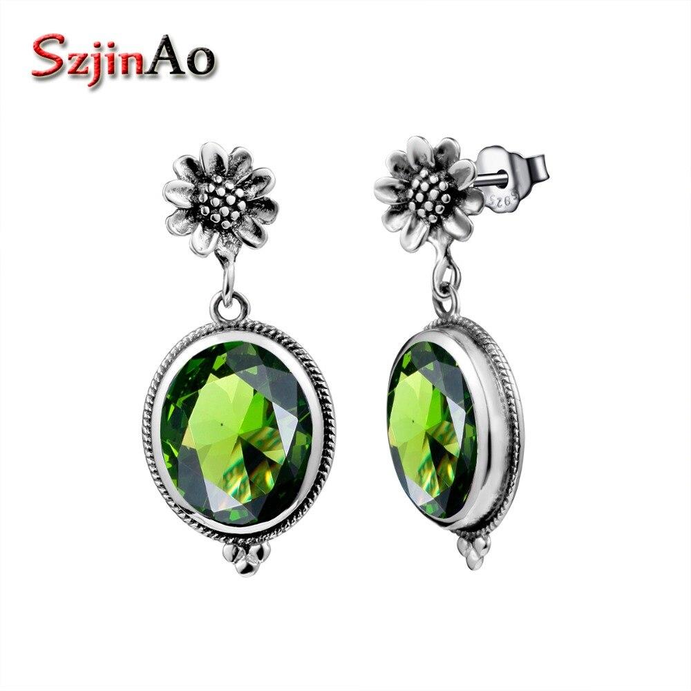 Szjinao 925 Sterling Silver Sunflower Green Peridot Dangle Earrings for Women Romantic Ethnic Fine Jewelry Wedding Earrings Gift