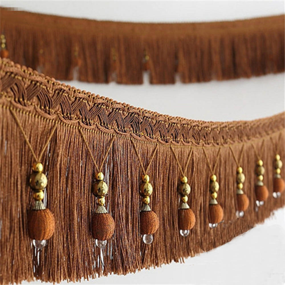 Coffee 2yard Briaded Beads Hanging Ball Tassel Fringe Trimming Applique Fabric Trimming Ribbon Band Curtain Table Wedding Decorated T2582a