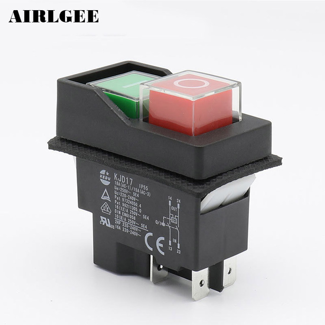 Ip55 waterproof push button electromagnetic switch 4 pin ac250v 16a ip55 waterproof push button electromagnetic switch 4 pin ac250v 16a magnetic starter power tool safety switches publicscrutiny Gallery