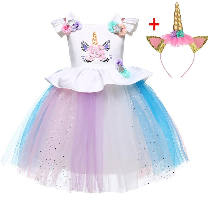 HTB17ug2XPnuK1RkSmFPq6AuzFXaG Unicorn Dresses For Elsa Costume Carnival Christmas Kids Dresses For Girls Birthday Princess Dress Children Party Dress fantasia