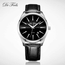 De Feels Quartz Men Watch Sun Pattern Sculpture Sapphire Crystal Glass Leather Strap Mirror Japan MIYOTA Movt Relogio Masculino цена