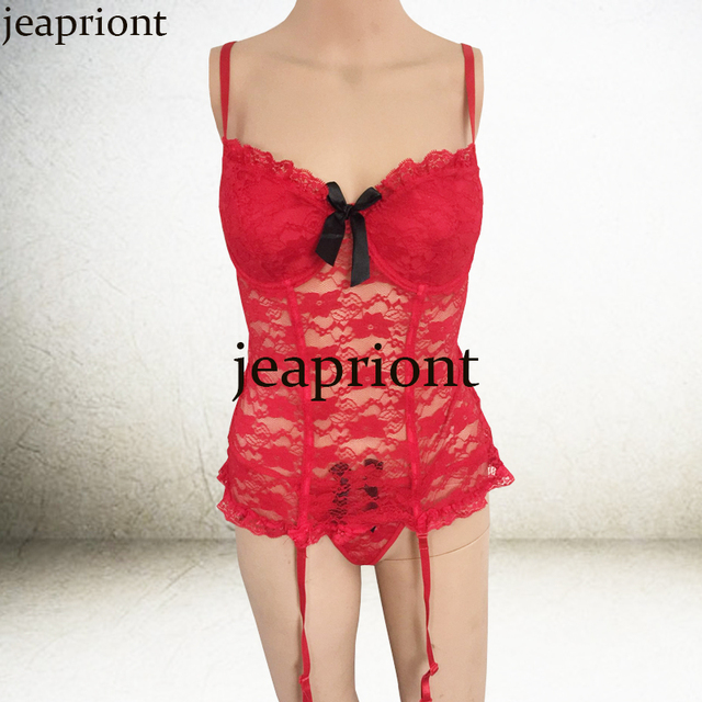 New High Quality XXL women's Lace bra perspective sexy lingerie Bow Chest Romantic Temptation Sets Deep V Neck Underwear bustier