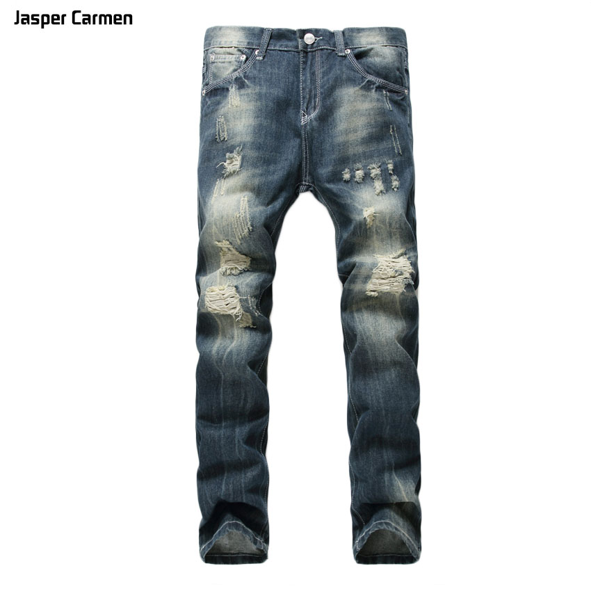 Autumn and Winter 2017 Jasper Carmen brand Men fashion hole hip hop Cowboy Long Pants Straight Slim Men's Jeans plus size 40 kent jasper twelve