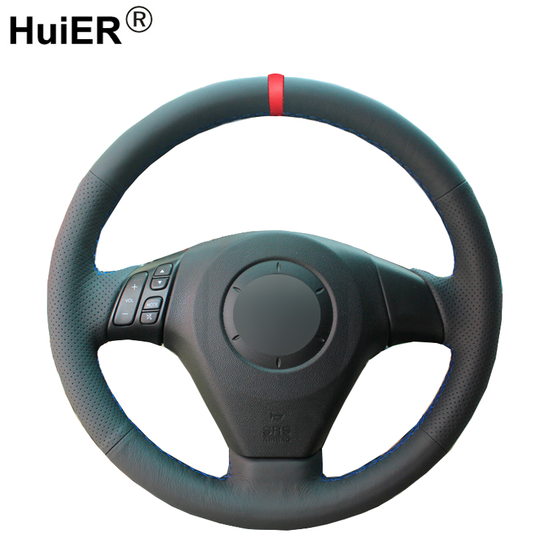 HuiER Hand Sew Car Steering Wheel Cover Red Marker For Old Mazda 3 Mazda 5 Mazda 6 2003-2009 Pentium B70 Non-slip Car Styling