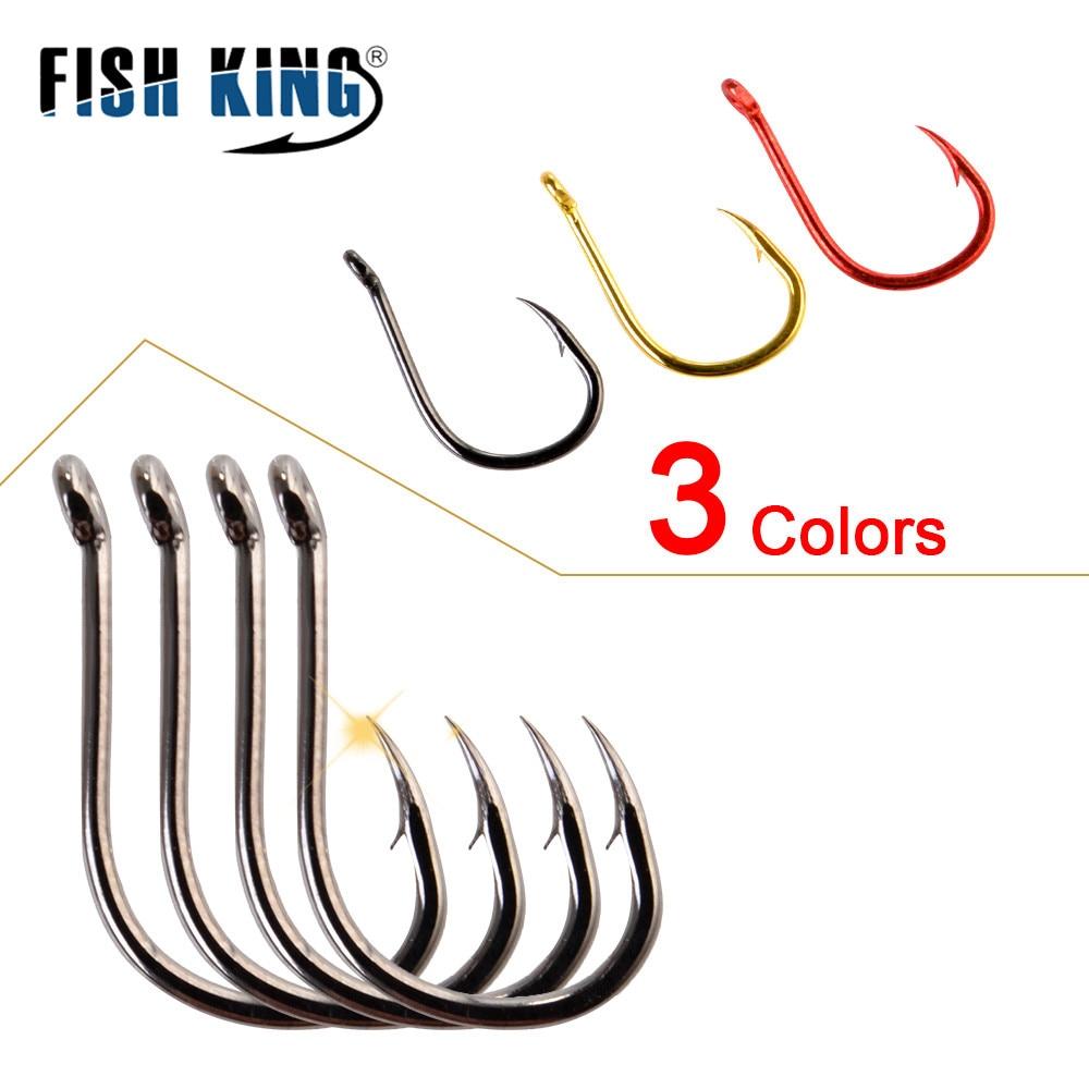 FISH KING 100/50pcs/lot High Carbon Fishing Hook 1#-12# ISEAMA With Eye Carp Catfish Anzol Peche Japan Tackle Fishing