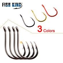 FISH KING 100/50pcs/lot High Carbon Fishing Hook  1#-12# ISEAMA With Eye Carp Catfish Anzol Peche Japan Tackle