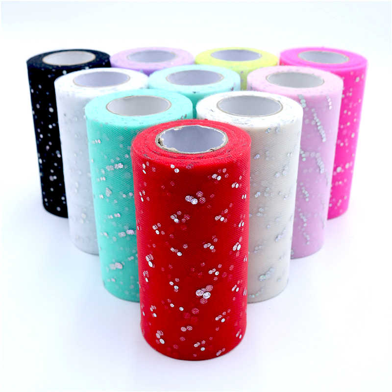 13cm 25 Yards Glitter Sequin Tulle Roll Fabric Spool Tutu Gift Wrap New Year Christmas Party