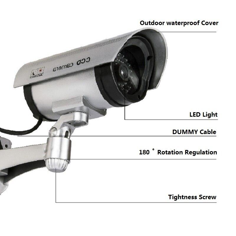 Поддельная пустышка камера пуля Водонепроницаемая наружная внутренняя охранная CCTV камера видеонаблюдения мигающая красная светодиодная ...