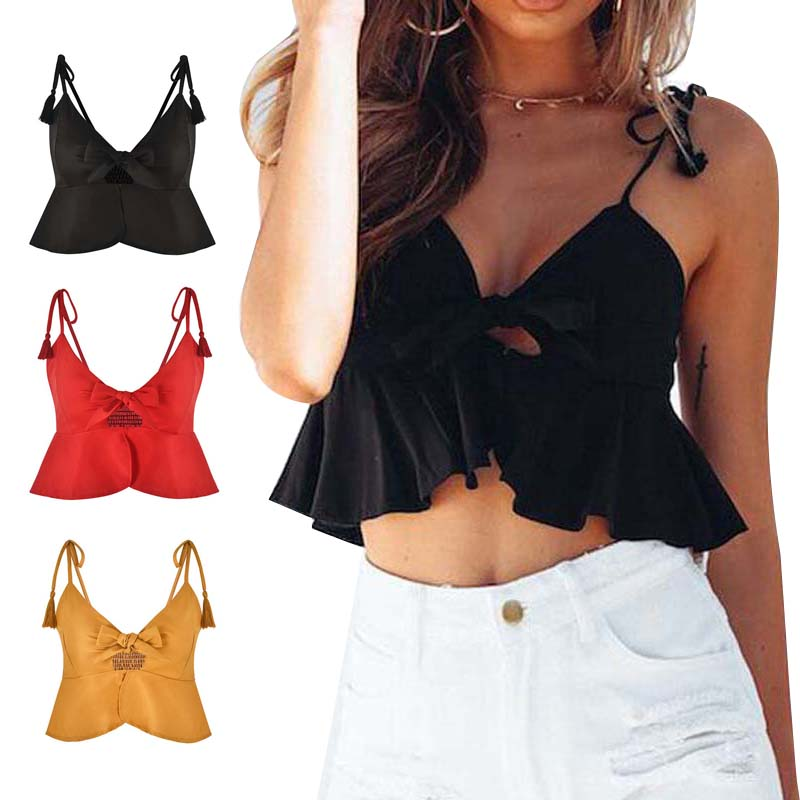 Women Sexy Crop Top Ruffles Camisole Spaghetti Straps Vest Bow Pleated Camis Casual Tank Tops H9