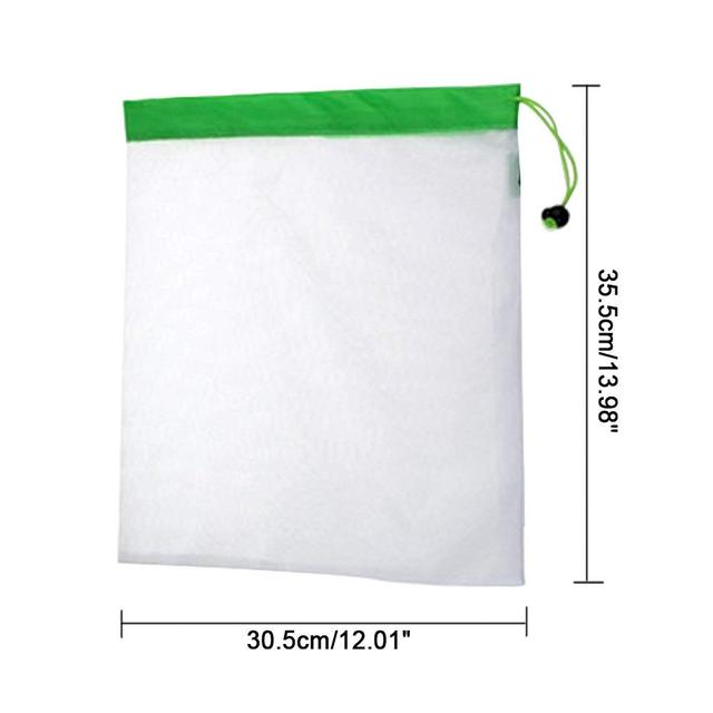 DCOS 5PCS/Set Polyester Washable Reusable Produce Bags, Eco-friendly Soft Premium Lightweight Vegetable Drawstring Storage Net 5