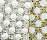 Freies shippment Elfenbein perle kristall strass Trimmen Braut Perlen Applikationen strass mesh kette für hochzeit kleid handwerk banding