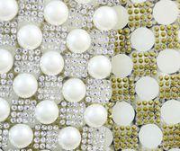 Shippment libre de Marfil perla cristal rhinestone Ajuste Nupcial Apliques de Abalorios malla strass cadena para el vestido de boda artesanía de bandas