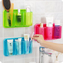 New 3 grids Self-adhesive wall shelf kitchen bathroom plastic box storage rack organizer debris toothbrush holder(China)