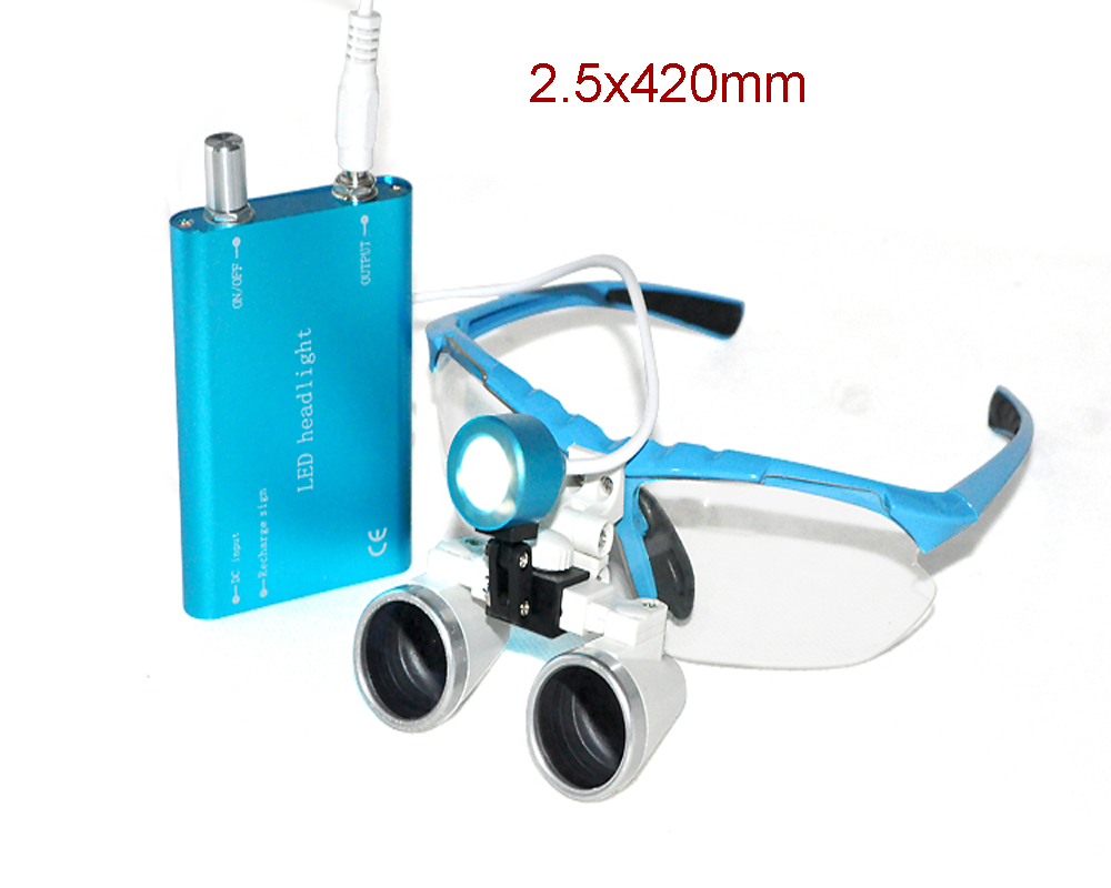 Dental equipment Surgical Medical dental Loupes dental glasses 2.5X 420mm +LED Head Light Lamp dental lab BLUE AA+ hot sale g7 dental equipment surgical dental glasses 3 5x 420mm led head light lamp dental lab blue aa medical dental loupes