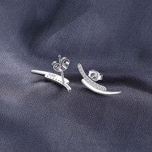 Crawler Round Cubic Zirconia Stud Earrings Genuine 925 Sterling Silver Fashion Earrings For Women Fine Jewelry