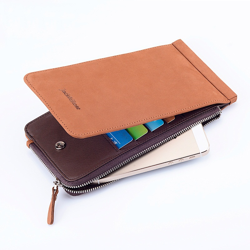 2017 New design genuine leather men wallet brand long clutches men phone bag fashion leisure male wallets for credit cards  nucelle brand new design french style threads cow leather women lady long wallets clutches cards phone holder