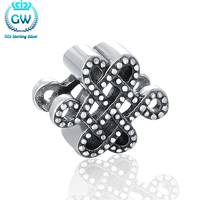 Berloque Prata 925 Chinese Lucky Knots Charm Beads Fit European Brand Bracelets Signifying Best Wishes Brand GW T198-50