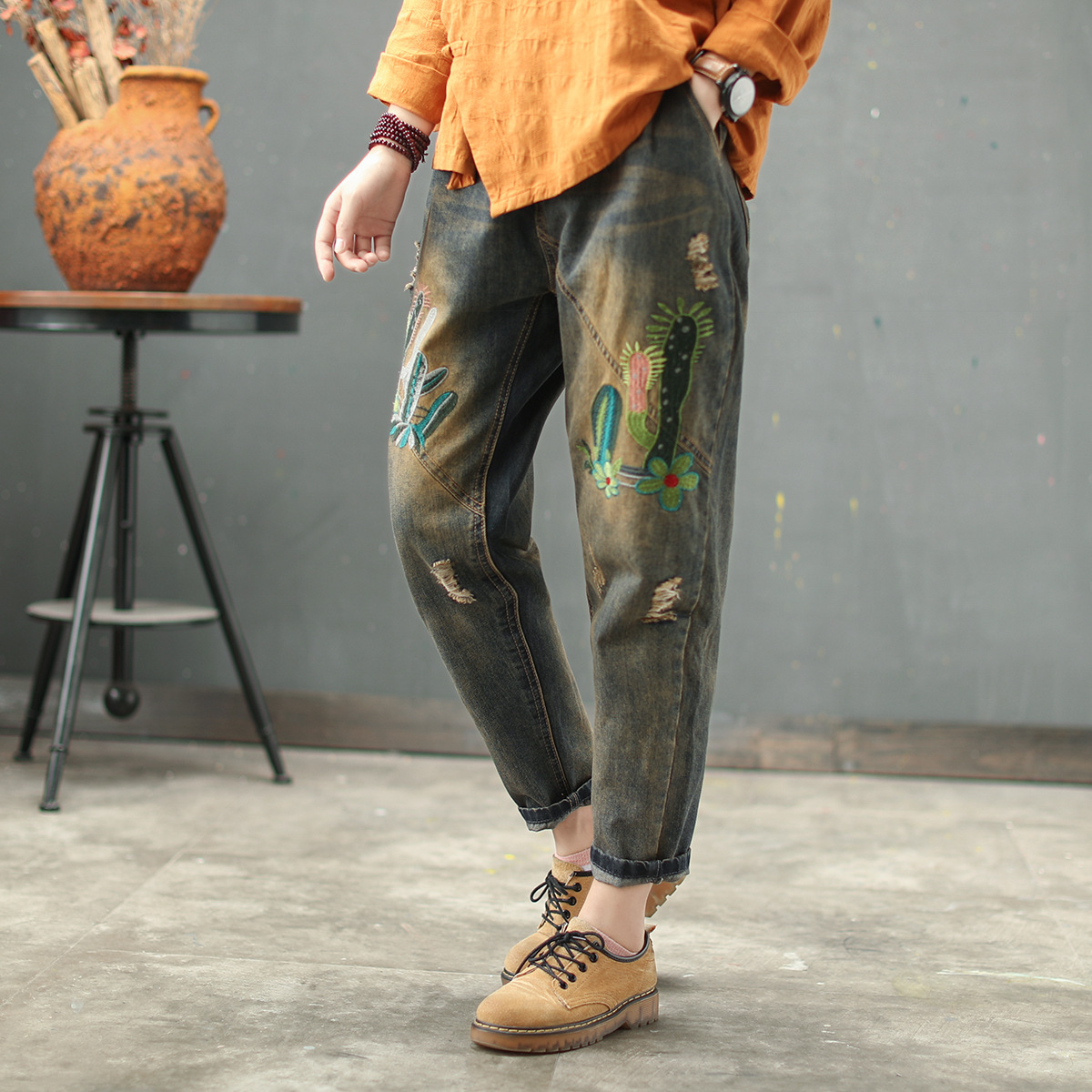 Ethnic Style Vintage Embroidered Washed Old   Jeans   Ladies Trousers Elastic Waist Lacing Hole Small Feet Harem Pants