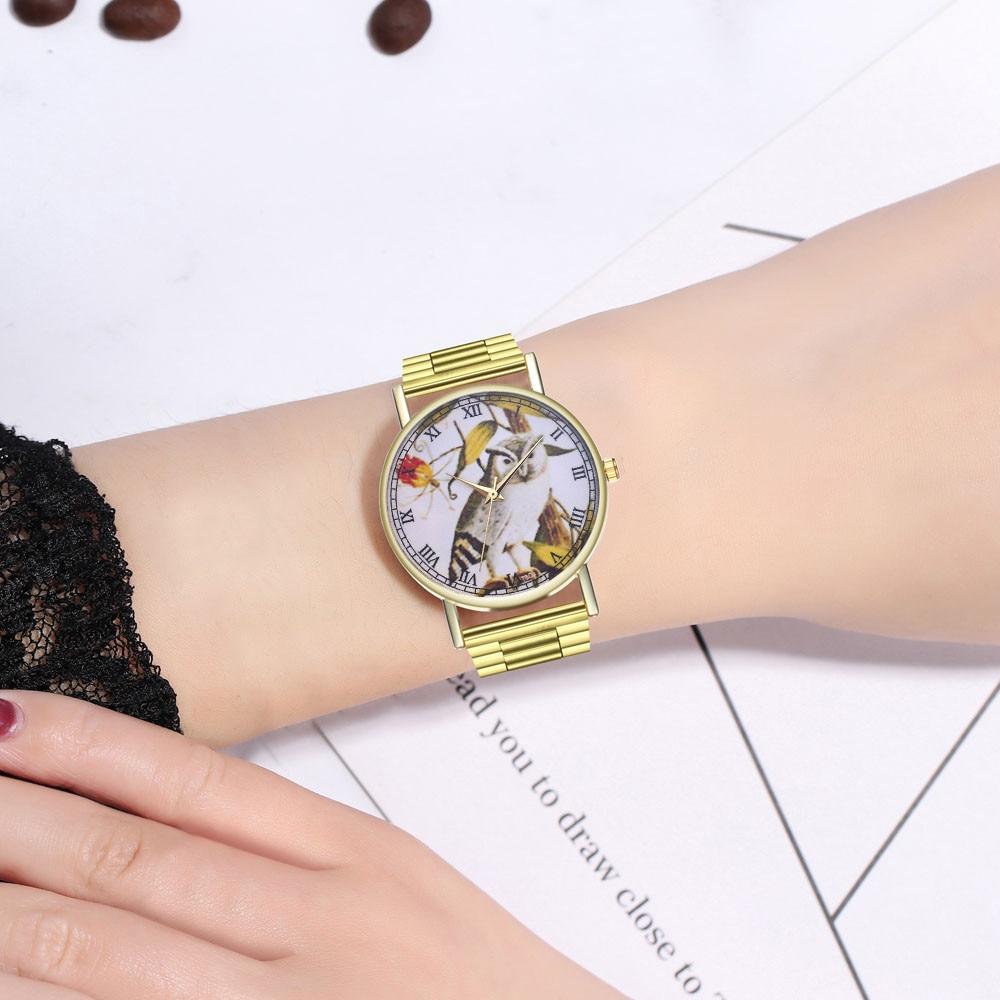 Bracelet Watch Mesh-Band Flower-Printed Quartz Lady Luxury Fashion Causal 45 Birds HK