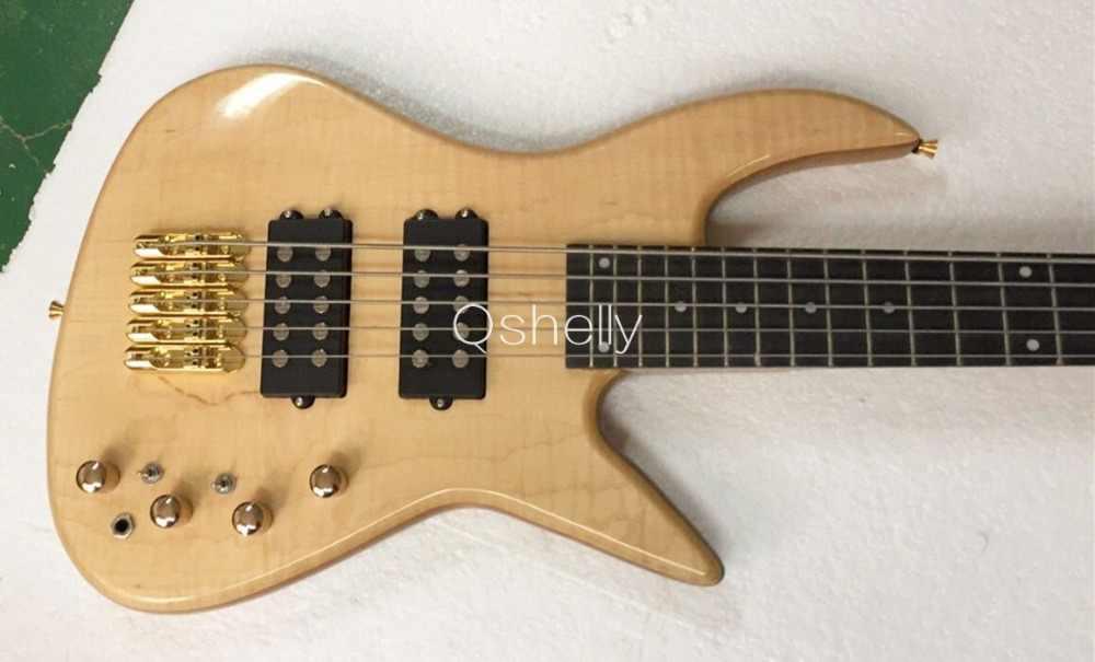 En kaliteli QShelly özel düz 2.5 cm alev maple top vücut 5 dizeleri aktif pickup abanoz klavye caz elektrik bas gitar