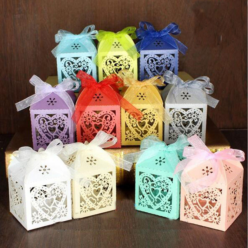 50pcs/lot Love Heart Candy Box Bridal Wedding casamento Candy Packaging Box Creative Sweets Candy Boxes Gifts With Ribbon