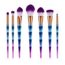 7pcs/set Makeup Brushes Set Diamond Shape Rainbow Handle Foundation Powder Blush EyeShadow Lip Brush Beauty Makeup Tools TM003