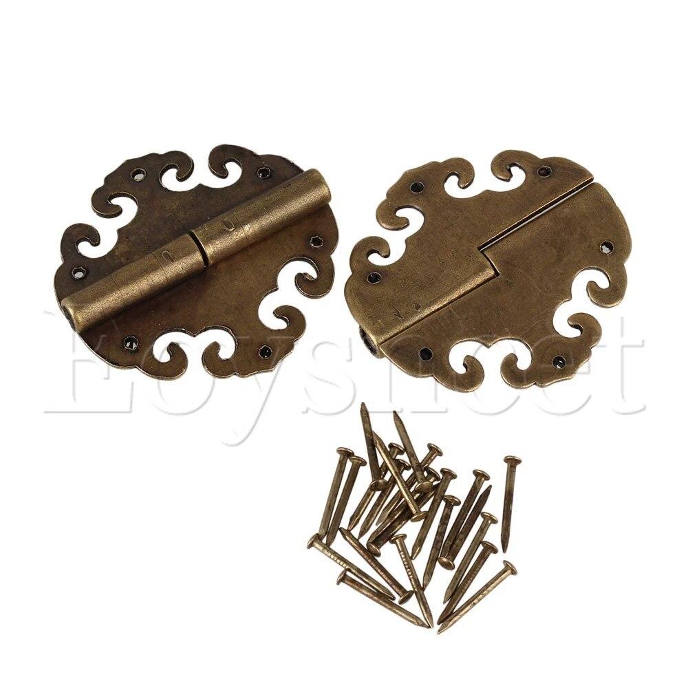 2 pcs 40x40mm Antique Nuages de Bon Augure Décoratif Bronze Surface Charnières