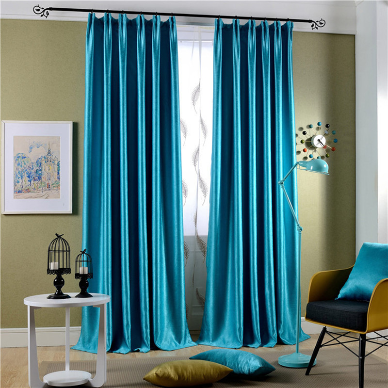 Modern blue yellow 100%polyester curtain for living room ...