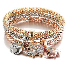 Charm 3-color corn chain for Women Elephant Rhinestone Zircon Pendant alloy material gold and silver Bracelet & Bangle Jewelry
