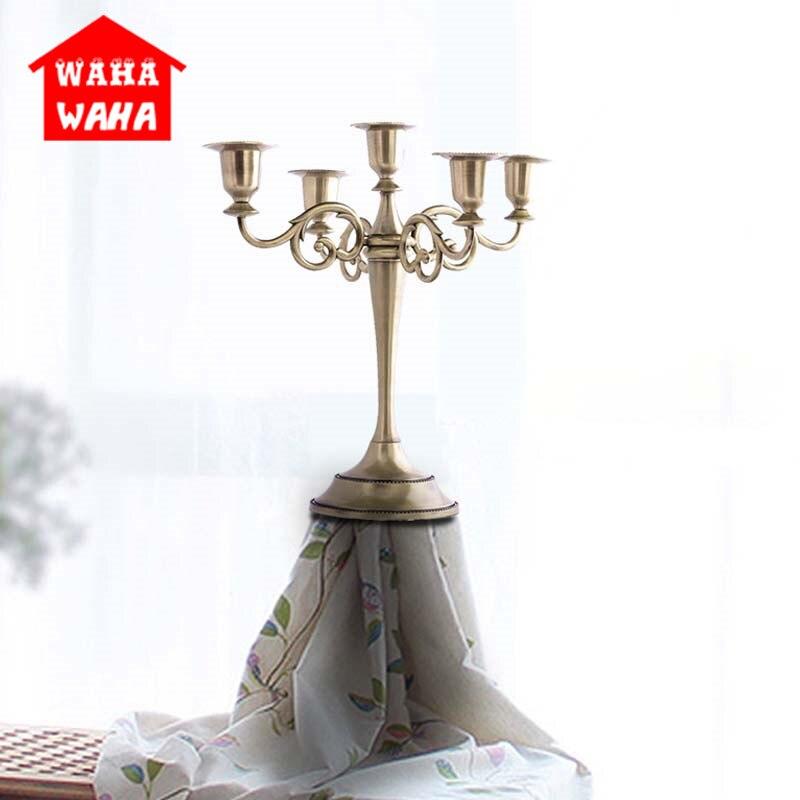 Bronze 5-Bras En Métal Pilier Bougeoirs Chandelier Décoration De Mariage Stand Mariage Candélabres De Mariage Maîtresses pour la Table