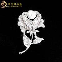 OBN Fashion Legant Cubic Zircon Micro Paved Rose Flower Brooch Pearl Rhinestone Wedding Bridal Jewelry For