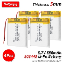 купить 3.7V 850mAh Rechargeable Battery 503443 li-ion Lipo cells Lithium Li-Po Polymer Battery For GPS MP3 MP4 MP5 Bluetooth Speaker по цене 143.29 рублей